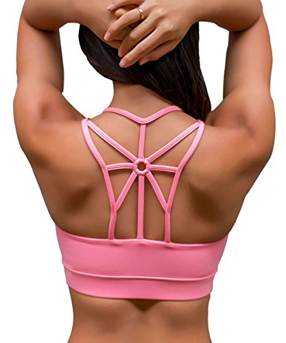 YIANNA Damen Gepolsterter Sport BH Ohne Bügel Komfort Bustier Atmungsaktiv Klassische Fitness Yoga BH Starker Halt Top Push Up Rosa,YA139 Size S