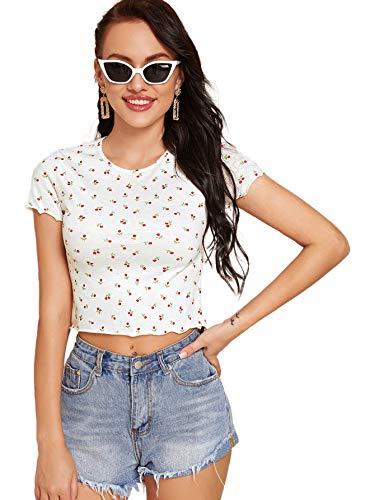 SweatyRocks Women's Basic Crop Top Short Sleeve Round Neck Tee T-Shirt Ditsy Floral S