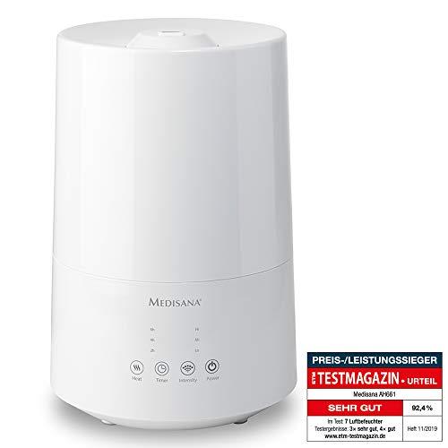 Medisana AH 661 ultrasone luchtbevochtiger, voor slaapkamer en woonkamer, vernevelaar met aromavak en verwarmingsfunctie tegen droge lucht, 3,5 l