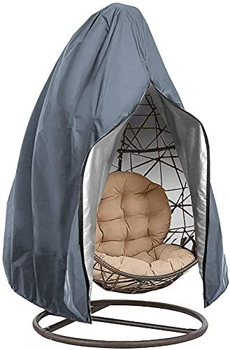 LVLUOKJ Patio Hanging Egg Stuhlbezug, wasserdichter Anti-Staub-Gartenmöbel-Schutzbezug für den Außenbereich mit Reißverschluss, 210D Oxford Fabric Swing Chair Bezug (Color : Gray, Size : 115 * 190CM)