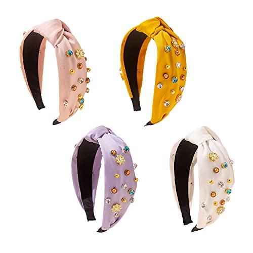 TINBLIN 4 Color Crystal Diamond Shiny Wide Headband Knot Headband Retro Headband Faux Pearl Elastic Headband Fashion Ladies and Girls Hair Accessories (color crystal)
