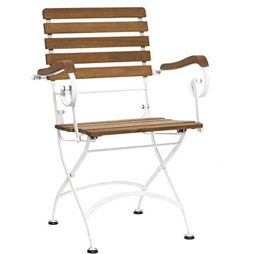 Butlers Parklife Gartenstuhl mit Armlehne aus Holz 59x52x90 cm - Stuhl klappbar aus FSC-Akazienholz und Metall schwarz verzinkt für Balkon oder Garten