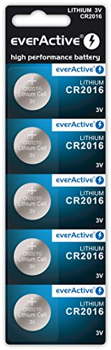 5x CR2016 EverActive batteria al litio a bottone 3 volt Blister scadenza 2024
