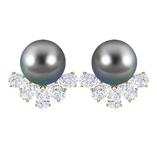 Pendientes de perlas de Tahití con diamantes, pendientes de oro (8 mm redondo negro perla tahitiana), rosca trasera negro