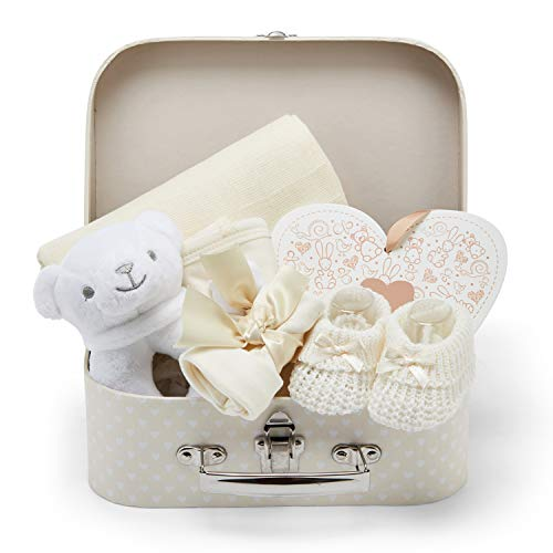 Baby Geschenk für Babys mit Baby Erstausstattung, Baby Set einschließlich Rassel, Fotorahmen, Musselin Tuch, Lätzchen, Socken, Handschuhe und Mütze