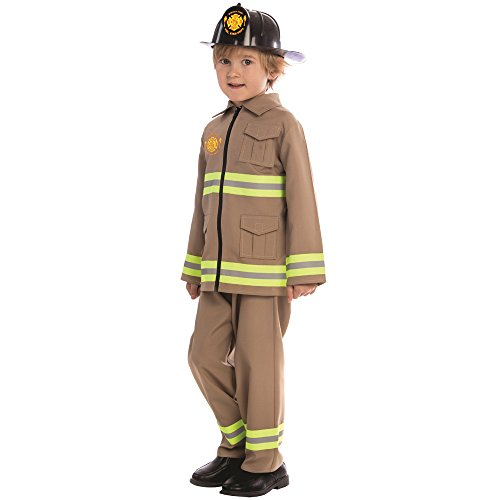 Dress Up America- Costume de Pompier KJ des Gamins, 845-T4, Multicolore, 3-4 Ans (Taille: 66-71, Hauteur: 91-99cm)