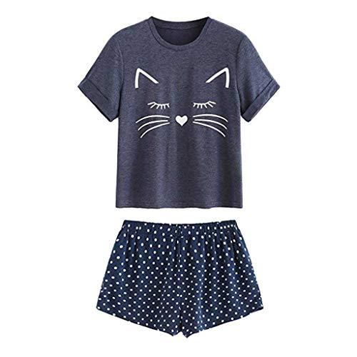 Holywin Pyjama T-Shirt décontracté à Manches Courtes Femme Vêtements de Nuit Ensemble de Nuit