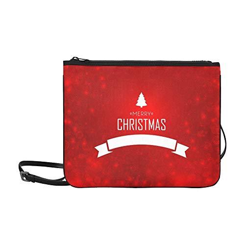 JEOLVP Festliche Winterferien Vorlage Weißes Bandmuster Benutzerdefinierte hochwertige Nylon Slim Clutch Cross Body Bag Umhängetasche