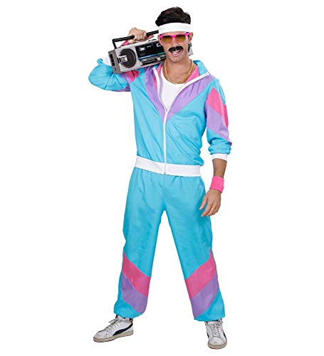 shoperama 80er Jahre Herren Trainingsanzug Retro Kostüm Assi Pumper Achtziger Proll Asi Trash Bad Taste Jogger, Größe:L