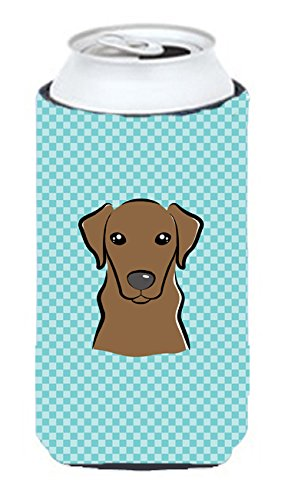 Checkerboard Bleu Labrador chocolat Tall Boy Koozie Hugger Bb1172tbc