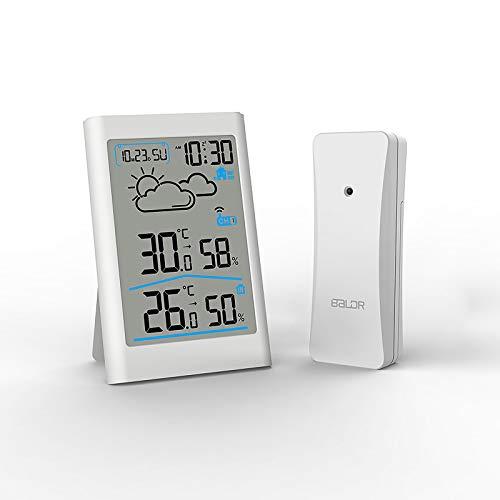 Houkiper Drahtloses Wetterstation-Digital-Thermometer-Hygrometer, Innenaußentemperatur-Feuchtigkeits-Monitor mit äußerem Sensor