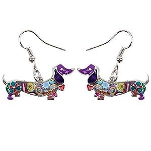 NEWEI Enamel Alloy Dachshund Dog Earrings Dangle Drop Fashion Cute Animal Jewelry for Women Girls Gift Charms (Purple)