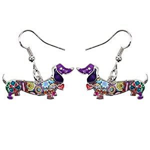 NEWEI Enamel Alloy Dachshund Dog Earrings Dangle Drop Fashion Cute Animal Jewelry for Women Girls Gift Charms (Purple)