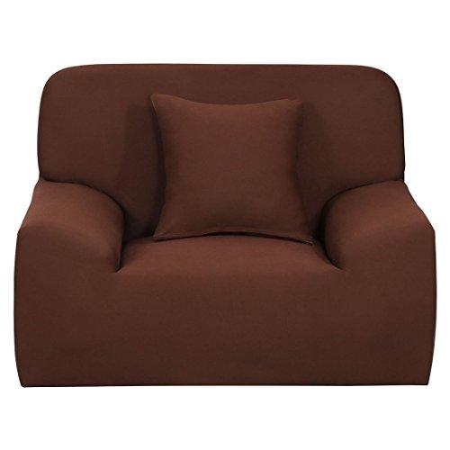 YeVhear - Funda de sofá extensible para sofá o sofá - Funda de poliéster elástico con una funda de almohada (color chocolate, pequeño)