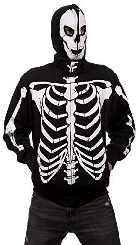 Men's Glow in The Dark Skeleton Costume Zip Hoodie (Black, X-Large)