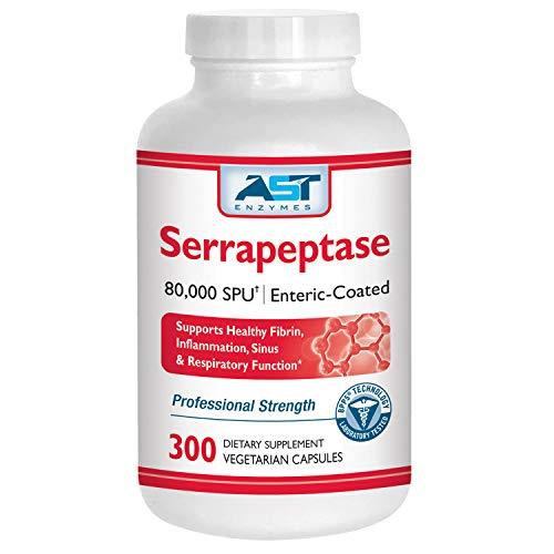 Serrapeptase 80,000 SPU – 300 Vegetarian Capsules - Premium Natural Systemic Enzymes – Enteric-Coated Serrapeptase – AST Enzymes