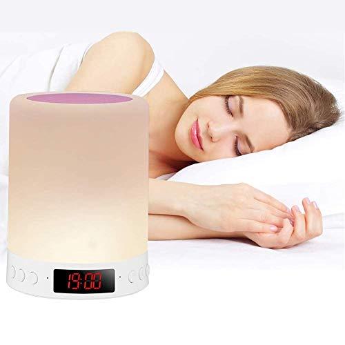 Nachttischlampe mit Bluetooth-Lautsprecher, Touch Control USB Aufladbare Smart Nachttischlampe, Dimmbare RGB-Nachttisch-LED-Nachtleuchte, tragbarer digitaler Wecker, Geschenk für Kinder, Babyzimmer
