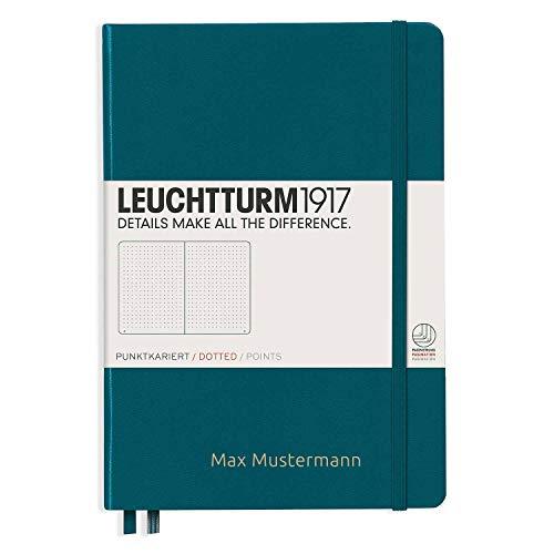 Notizbuch von Leuchtturm1917 personalisierbar mit Namen   Format A5   Farbe pacific green   Lineatur dotted   Notizbücher (notebook) mit punktraster (gepunktet) von Leuchtturm