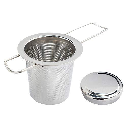 Tea Mesh Strainer, Stainless Steel Tea Infuser Strainer with Lid Tea Strainer with Two Foldable Handles Tea Filter for Loose Leaf Grain Tea Cups, Mugs, and Pots