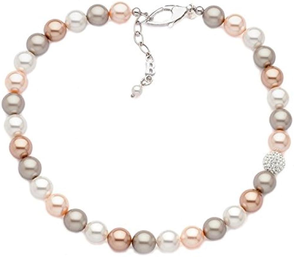 Boccadamo,collana per donna,in argento rodiato con perle swarovski e boule in pavè di strass GR552CH