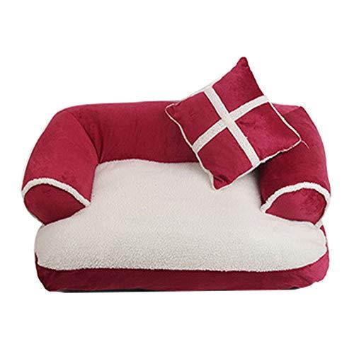 Bling Hundebett Tierbett,Pet Sofa Lounger Bettpolster für Katzen oder Hunde Bequeme Ultra Soft Cat Hundebett-Zelt besten Pet Supplies,Rot,M