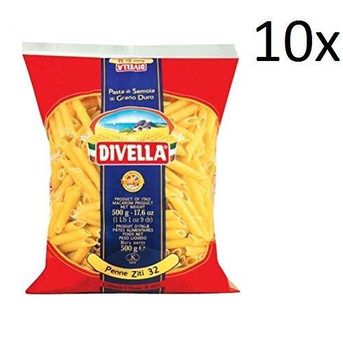 10x Pasta Divella 100% Italienisch N° 32 Penne Ziti 500g