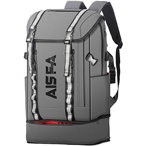 AISFAリュックメンズ リュックサックバックパック スクエア 30L 防水15.6インチ PC ビジネス ラップトップバック USB充電ポート付き アウトドア旅行 通勤 靴/弁当収納 (グレー)
