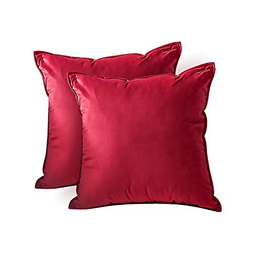 ZPXTI 40x40 Federe in Velluto,2 Pezzi Copricuscini Decorativi per Divano Camera da Letto Casa,Federe Cuscini Divano Quadrati Morbido di Velluto (Rosso, 40x40cm)