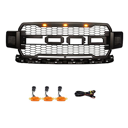 Front Replacement Grille For F150 2018 2019 2020,Raptor Style Grill Mesh Grills F150 2018 F150 2019 2020 With 3 Amber LED Lights (Matte Black With Letters)