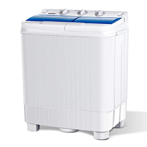 KUPPET Portable Washing Machine, 17lbs Capacity Compact Twin Tub Washer and Spin Dryer Combo for Apartment, Dorms, RVs, Camping and More /Semi-Automatic(White&Bule)
