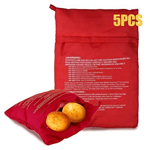N\O 5 Stück Mikrowellen Kartoffelbeutel, Kartoffel-Kochbeutel für Mikrowelle, waschbar und wiederverwendbar, Kartoffel Tortillas Maiskolben Express Backen Werkzeug(Rot, 22 x 19 cm)