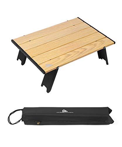 iClimb 折りたたみテーブル キャンプ テーブル アウトドア テーブル 41×28.5×12.5cm ロールテーブル コンパクト アルミ製 軽量 【耐荷重30kg】 ミニテーブル キャンプ用品 耐熱 防酸化処理 つや消し 収納袋付き