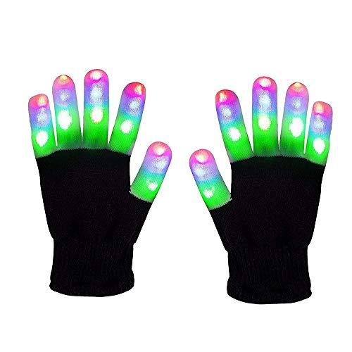 WISHBB leucht Handschuhe, LED leuchtende Handschuhe Spielzeuge Gloves Tanzen blinkende Bunte Finger Kostüm Beleuchtung Geschenk für Mädchen Junge (Mehrfarbig 2)