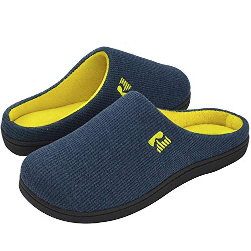 RockDove Men's Original Two-Tone Memory Foam Slipper, Size 11-12 US Men, Blue/Maize