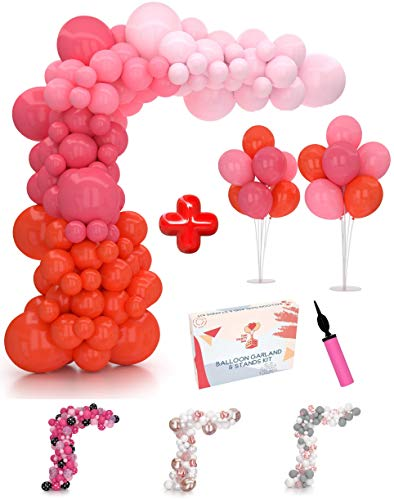 Pink Balloon Garland Kit & Balloon Arch Kit 16Ft with 2 Extra Balloon Stands & Pump | Easy-Assemble Video eBook Instruction | 111 Blush Red Rose Pink Balloons| Ideal Bachelorette Party Decorations
