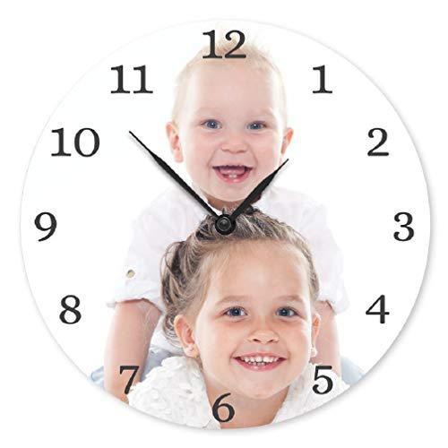 Reloj de Pared con Foto Personalizada - Personaliza Este Reloj Redondo con tu Foto Favorita Hecha de Cartón Duro con Revestimiento Endurecido