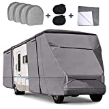 RVMasking Upgraded Waterproof 500D Top Class C RV Cover Cover for 29' - 32' RV Camper Motorhome with 4 Tire Covers, Gutter Cover