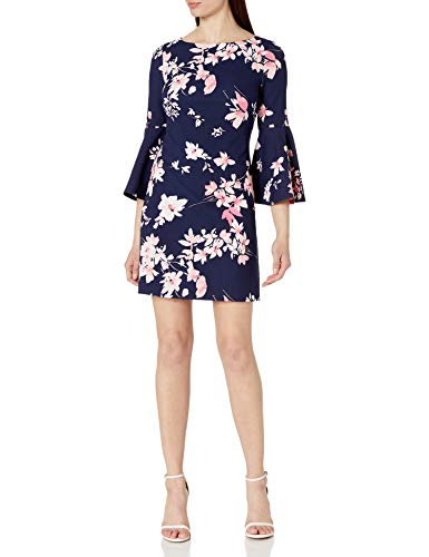 Eliza J Women's Printed Bell Sleeve Shift Dress Casual, Navy, 12