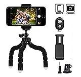 Mini-Stativ, monbro Flexible Octopus Style Handy Stativ Kamera Reisestativ mit Bluetooth Steuerung für Gopro und kleine Kamera, Schwarz -