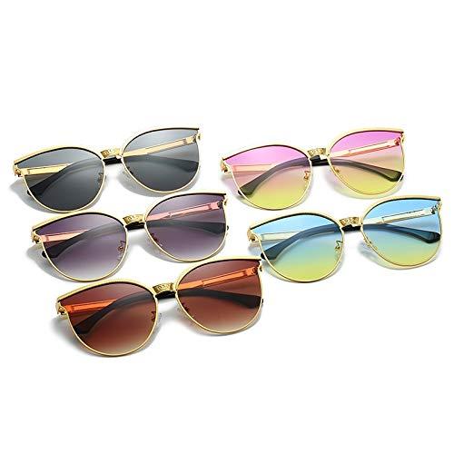 LEYIS Gafas de sol de moda para hombre y mujer, de metal, protección UV, tamaño dorado, azul y amarillo