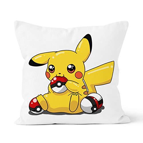 Funda de almohada de Pikachu, cómoda y agradable al tacto, ideal para la almohada del coche del dormitorio de la casa, tamaño 40 x 40 cm