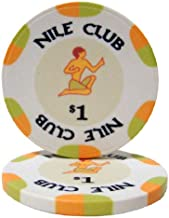 25 $1 Nile Club 10 Gram Ceramic Casino Quality Poker Chips