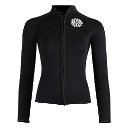 Two Bare Feet Womens Heritage 3mm Full Zip Long Sleeve Wetsuit Jacket Watersports Top