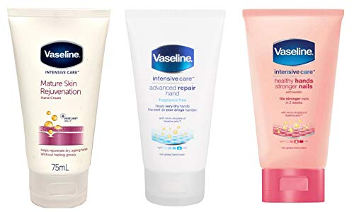 Vaseline Intensive Care Hand Cream Set of 3. Mature Skin Rejuvenation 75ml, Healthy Hands Stronger Nails 75ml, Advanced Repair Hand Cream 75ml. Perfect for the Bathroom or in the Bag on the Go!