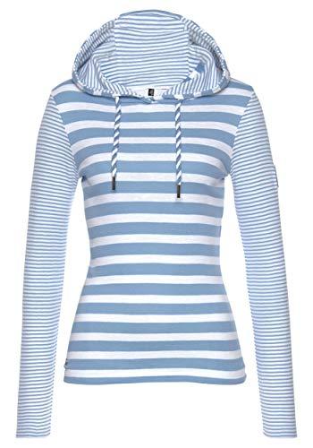 TrendiMax Damen Kapuzenpullover Sweatshirts Gestreift Hoodie Pulli Langarm Pullover 100% Baumwolle (Hellblau, XL)