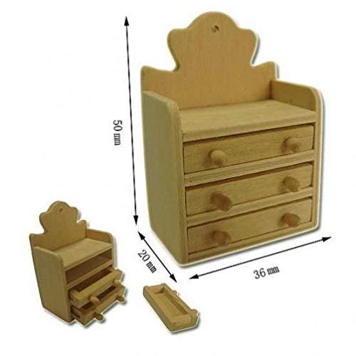 Miniatures World - Houten plank met lades voor miniatuurdecors en poppenhuizen in schaal 1:12