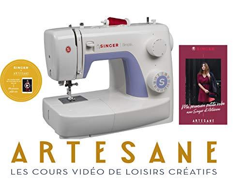 Singer Simple 3232 Machine à Coudre Blanche/Mauve 32 Points Ajustables avec 2h de Cours de Couture Artesane Inclus