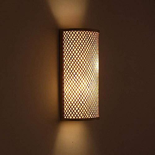 CRZJ Bamboo wicker rattan shadow tunnel wall lamp wall lamp antique lamp bedroom bedside corridor,A