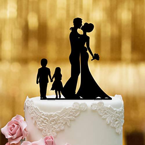 Cake Topper Brautpaar mit Kindern 2 - für die Hochzeitstorte - Acrylglas Schwarz - XL - Tortenaufsatz, Kuchen, Deko, Tortenstecker, Tortenfigur, Hochzeit, Kuchanaufsatz, Kuchendeko, Mr Mrs