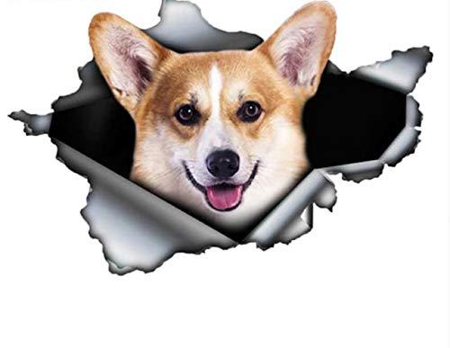 DSSJ Lustige Corgi Auto Aufkleber zerrissen Metall Aufkleber reflektierende Aufkleber Haustier Hund Aufkleber 3D Auto Dekoration13Cm X 8.5Cm